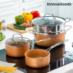 Batterie de cuisine avec cuiseur-vapeur Copper-Effect InnovaGoods (6 pièces) élégante