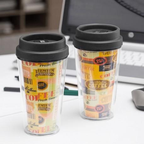 Verre avec couvercle et double paroi Coffee 300ml pratique et élégant