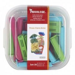 Pinces ferme-sacs Privilege Multicouleur (30 pièces)