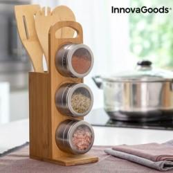 Ensemble Range-épices magnétique avec ustensiles en bambou Bamsa InnovaGoods (7 pièces) élégant et pratique