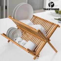 Egouttoir en bambou taketokio pour égoutter toute votre vaisselle