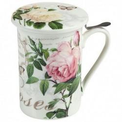 Tasse avec filtre pour infusions Fleurs Roses élégante