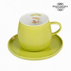 Tasse avec soucoupe verte - Collection Kitchen's Deco by Bravissima Kitchen élégante