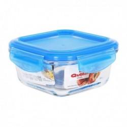 Boîte à lunch hermétique Quttin Carré Verre Bleu fonctionnelle et pratique