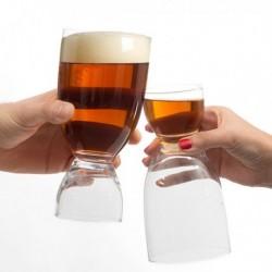 Verre à bière avec verre shot à double usage