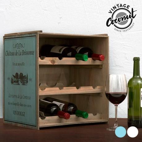 Porte bouteilles en bois vintage coconut coloris différents