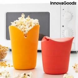 Bols à Pop-corn Pliables en Silicone Popbox InnovaGoods (Pack de 2) fonctionnel