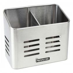 Pot pour ustensiles de cuisine Privilege Acier inoxydable (16 x 9 x 13 cm) fonctionnel