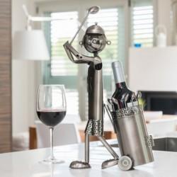 porte bouteilles métallique golfeur élégant sur votre table