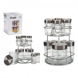 Pot en verre Vivalto (17 x 24,5 x 17 cm) (9 pièces) avec support fonctionnel
