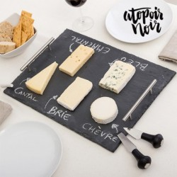 Plateau en ardoise rectangulaire pour fromages avec accessoires atopoir noir élégant