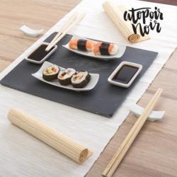 set de sushi avec plateau en ardoire atopoir noir 11 pièces