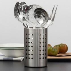 set d'ustensiles de cuisine en acier inoxydable vue de profil