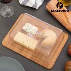 cloche à fromage en bambou taketokio indispensable dans votre cuisine