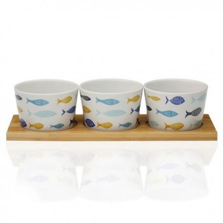 Ensemble à apéritif Blue Bay Bambou Porcelaine (3 pièces) fonctionnel