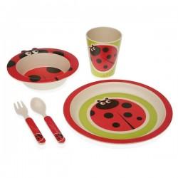 Service de Vaisselle Fibre de bambou Enfant Coccinelle (5 pièces) élégant
