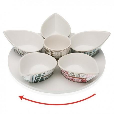 Ensemble à apéritif Ayanda Porcelaine Bois MDF (6 pièces) fonctionnel