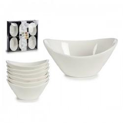 Ensemble de bols Porcelaine (6 pièces) (6,5 x 4 x 9,5 cm) Oblongue fonctionnel