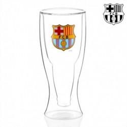Verre à bière à double fond FC Barcelone vue de profil