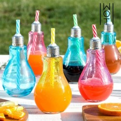 verres ampoule colorés avec pailles wagon trend 250ml élégant sur votre table