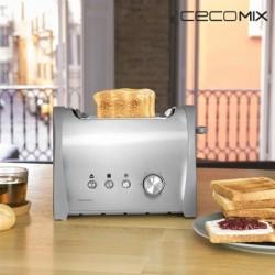 Grille-Pain Cecomix Steel 2S 3035 800W pratique et élégant