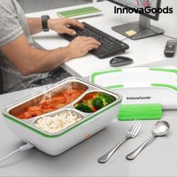boîte à déjeuner électrique pro innovagoods blanche verte indispensable pour vos déjeuners