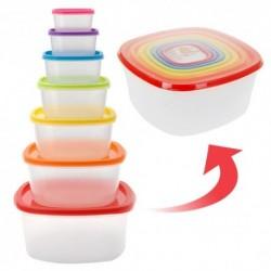 Récépients plastiques à couvercle de couleur 7 pièces se range avec facilité