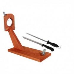 Support à jambon en bois avec couteau et aiguiseur Quttin (49 x 17 x 34 cm)